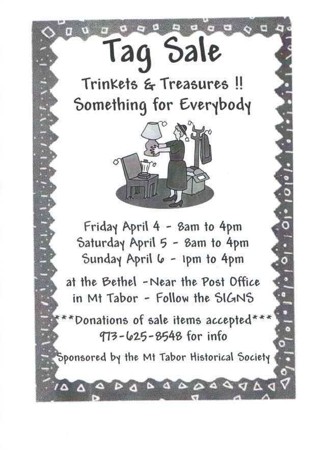 Mt Tabor Historical Society Tag Sale
